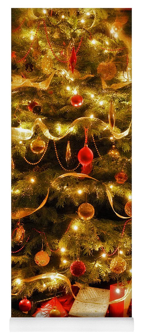 Victorian Christmas Tree Xmas Baubles Gifts Presents Decorations Ribbon Pine Needles Fairy Lights Yoga Mat featuring the photograph Christmas Tree by Mal Bray