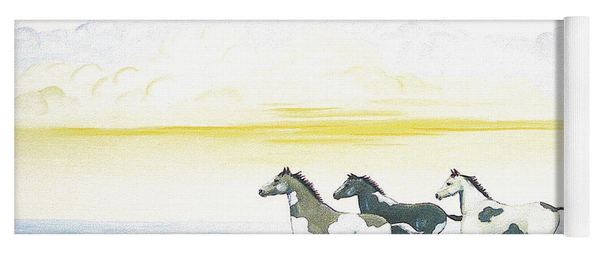 Chincoteague Yoga Mat featuring the painting Indian Ponies by Jerome Stumphauzer