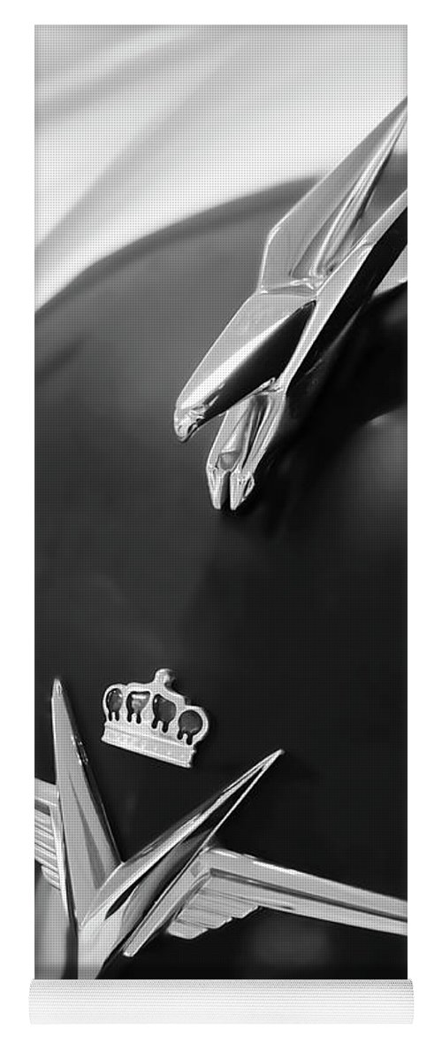 1954 Chrysler Imperial Sedan Yoga Mat featuring the photograph 1954 Chrysler Imperial Sedan Hood Ornament 3 by Jill Reger
