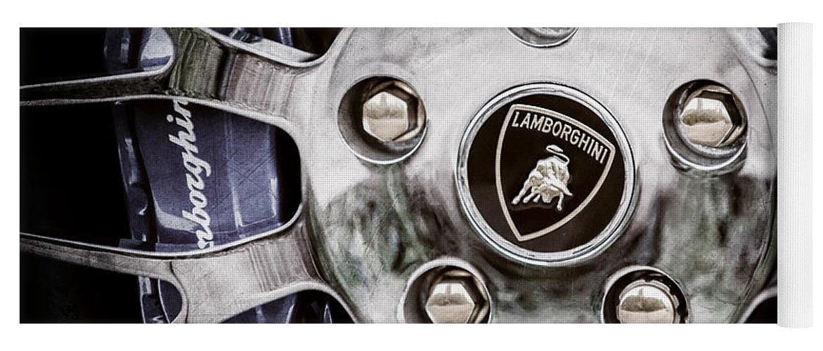 1997 Lamborghini Diablo Roadster Wheel Emblem Yoga Mat featuring the photograph 1997 Lamborghini Diablo Roadster Wheel Emblem -1303ac by Jill Reger