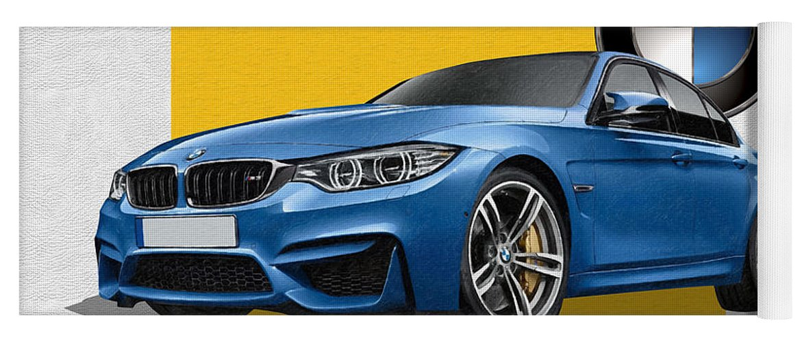 �bmw� Collection By Serge Averbukh Yoga Mat featuring the photograph 2016 B M W M 3 Sedan with 3 D Badge by Serge Averbukh