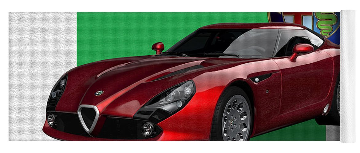 �alfa Romeo� By Serge Averbukh Yoga Mat featuring the photograph Alfa Romeo Zagato T Z 3 Stradale With 3 D Badge by Serge Averbukh