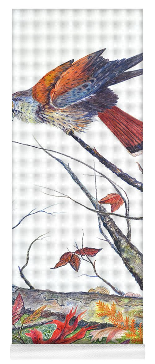 Bird Yoga Mat featuring the painting American Kestrel by Ben Kiger