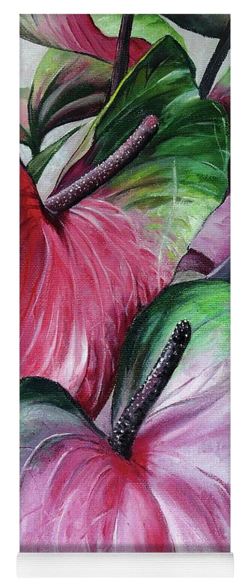 Pink Lilies Yoga Mat featuring the painting Anthuriums by Karin Dawn Kelshall- Best