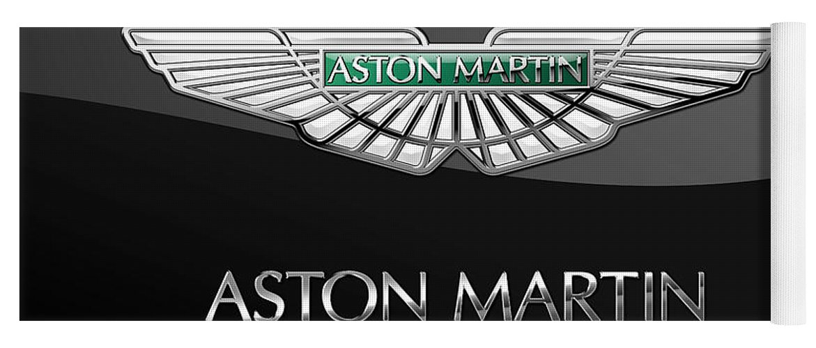 'wheels Of Fortune� Collection By Serge Averbukh Yoga Mat featuring the photograph Aston Martin 3 D Badge on Black by Serge Averbukh