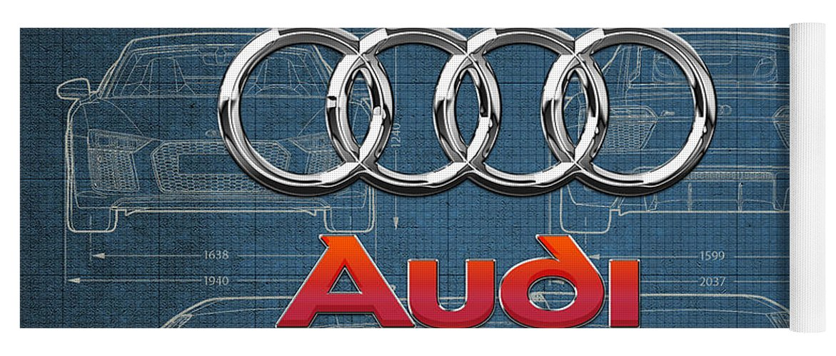 �wheels Of Fortune� Collection By Serge Averbukh Yoga Mat featuring the photograph Audi 3 D Badge Over 2016 Audi R 8 Blueprint by Serge Averbukh