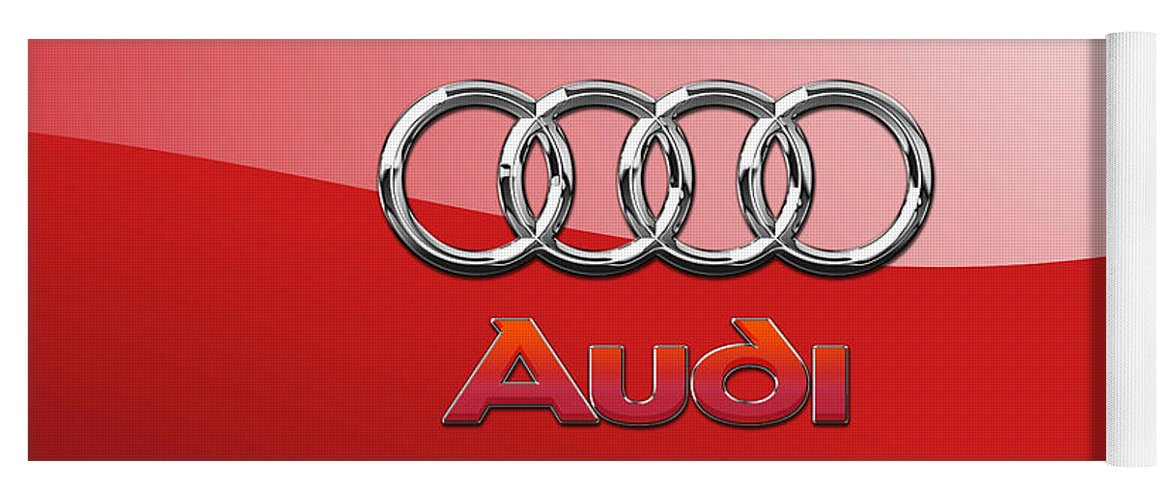 Wheels Of Fortune By Serge Averbukh Yoga Mat featuring the photograph Audi - 3D Badge on Red by Serge Averbukh