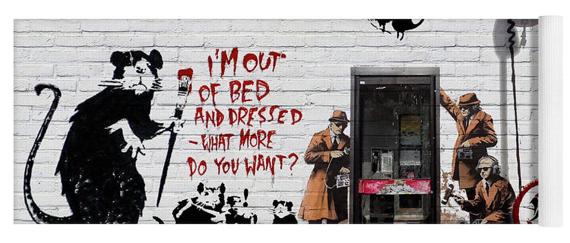 �urban Graffiti� Collection By Serge Averbukh Yoga Mat featuring the photograph Banksy - The Tribute - Rats by Serge Averbukh
