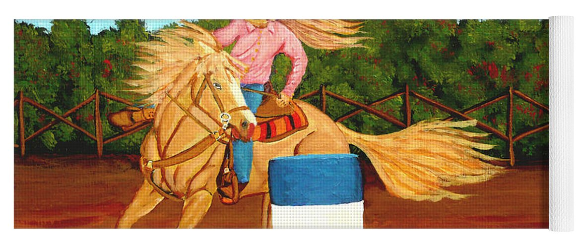 Rodeo Yoga Mat featuring the painting Barrel Racer by Anthony Dunphy