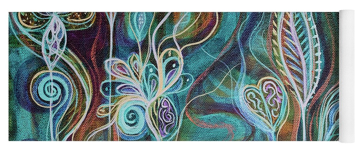 Intuitive Art Yoga Mat featuring the painting Bling Bling by Angel Fritz