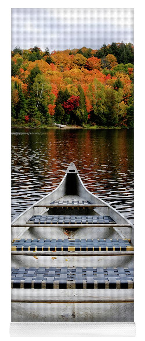 Canoe Yoga Mat featuring the photograph Canoe On A Lake by Maxim Images Prints