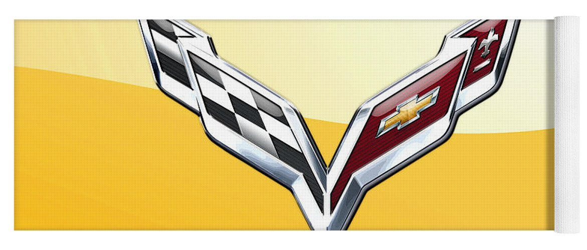 �wheels Of Fortune� Collection By Serge Averbukh Yoga Mat featuring the photograph Chevrolet Corvette 3D Badge on Yellow by Serge Averbukh