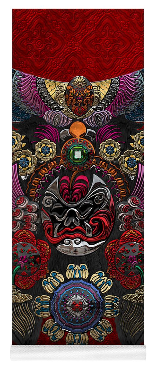 �treasures Of China� By Serge Averbukh Yoga Mat featuring the photograph Chinese Masks - Large Masks Series - The Demon by Serge Averbukh