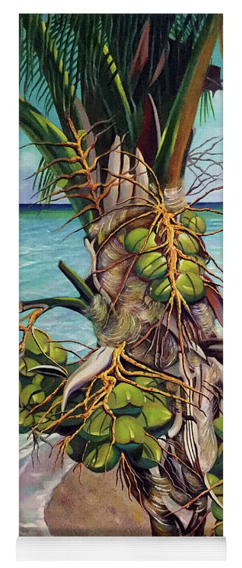 Coconuts Yoga Mat featuring the painting Coconuts on beach by Jose Manuel Abraham