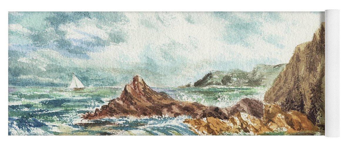 Sea Yoga Mat featuring the painting Elongated Seascape Painting by Irina Sztukowski