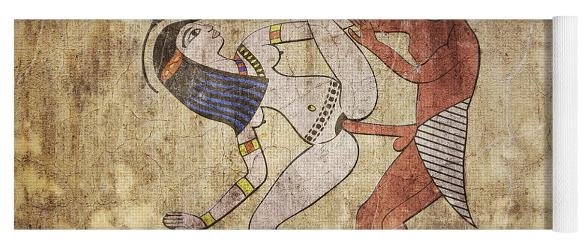 Egypt Yoga Mat featuring the digital art Erotic Drawing Looks Like Fresco by Michal Boubin
