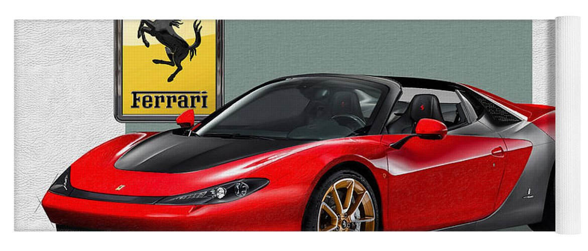 �ferrari� Collection By Serge Averbukh Yoga Mat featuring the photograph Ferrari Sergio with 3D Badge by Serge Averbukh