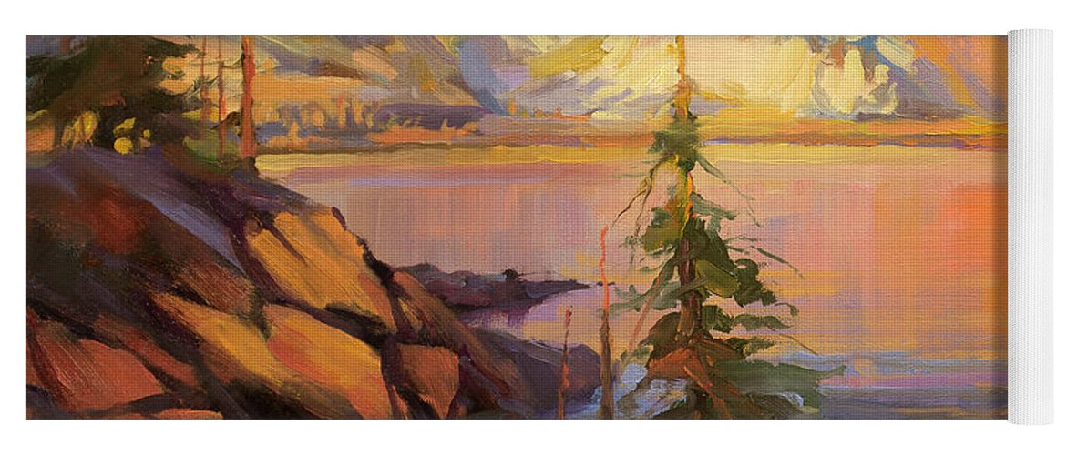 Wilderness Yoga Mat featuring the painting First Light by Steve Henderson
