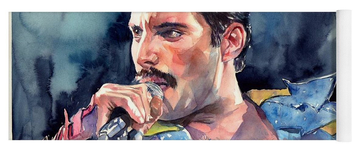Freddie Yoga Mat featuring the painting Freddie Mercury portrait by Suzann Sines