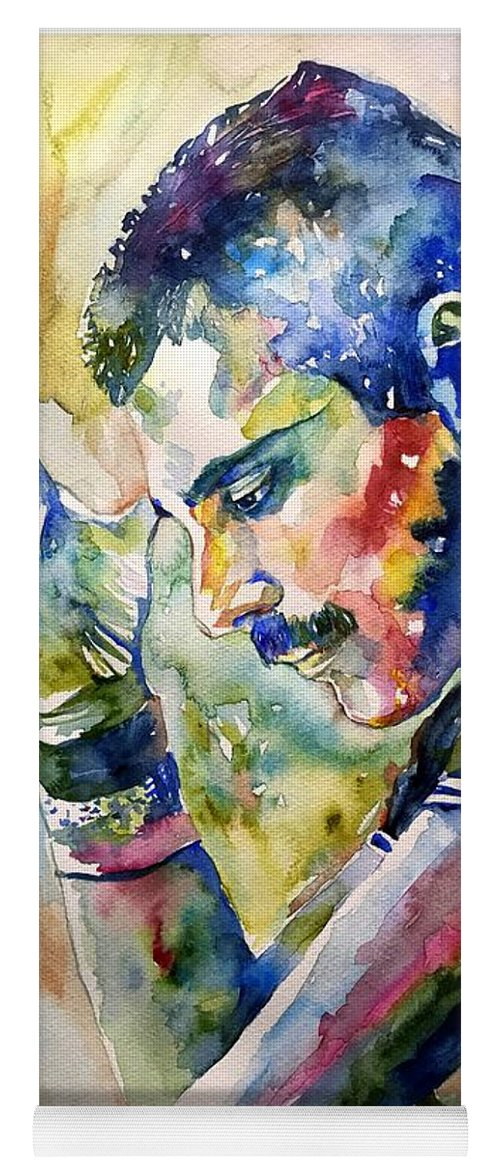 Freddie Yoga Mat featuring the painting Freddie Mercury watercolor by Suzann Sines