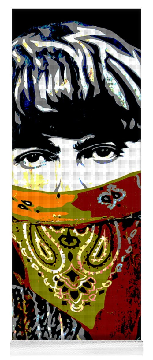 Banksy Yoga Mat featuring the photograph George Harrison wearing a face mask by RicardMN Photography