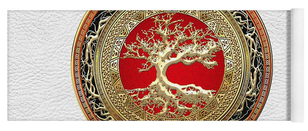 Treasure Trove By By Serge Averbukh Yoga Mat featuring the photograph Gold Celtic Tree of Life on White Leather by Serge Averbukh