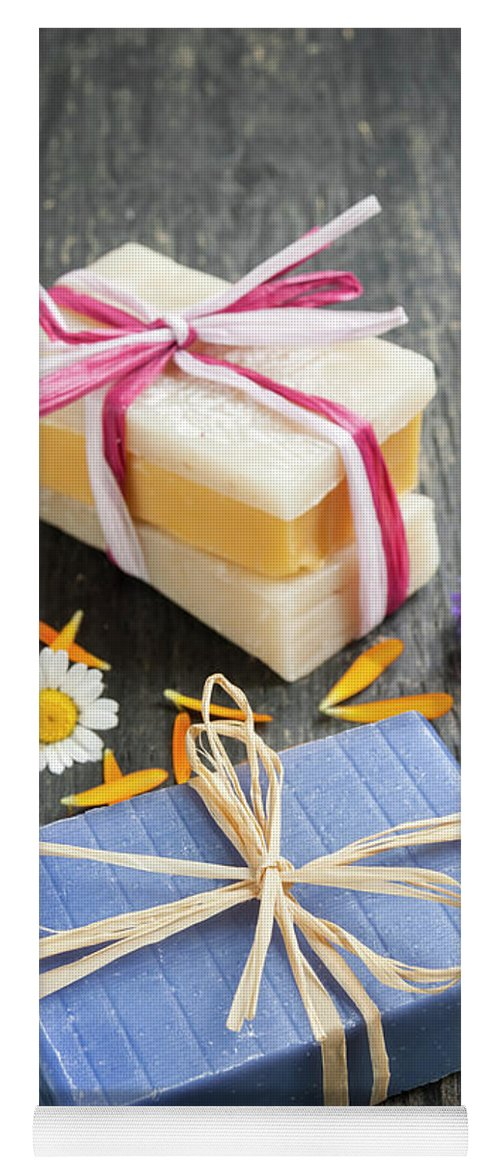 Soaps Yoga Mat featuring the photograph Handmade Soaps With Herbs by Elena Elisseeva