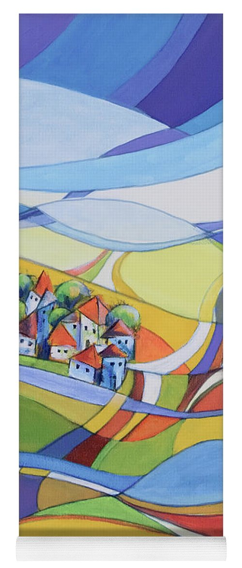 Landscape Yoga Mat featuring the painting Houses Along The River by Aniko Hencz