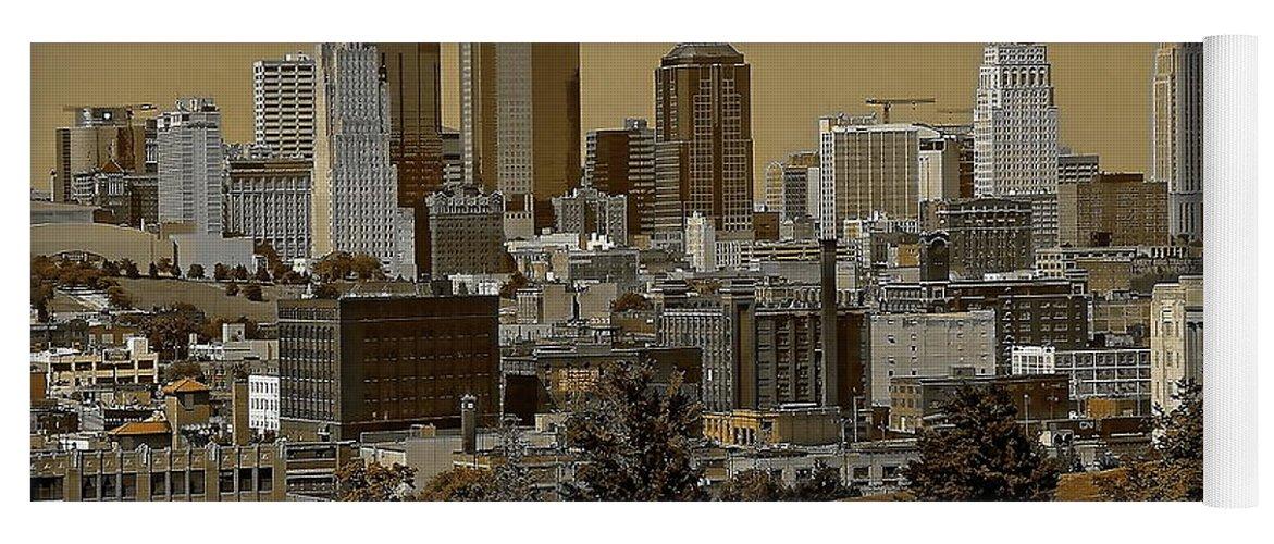 Architecture Yoga Mat featuring the digital art Kansas City Skyline by Anthony Dezenzio