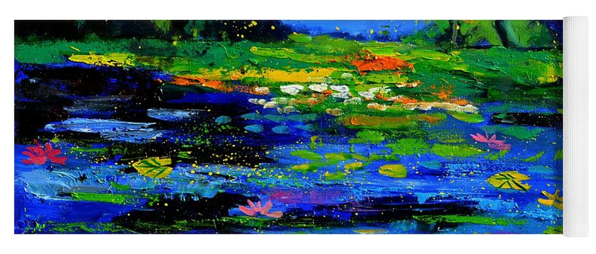 Landscape Yoga Mat featuring the painting Magic pond 765170 by Pol Ledent