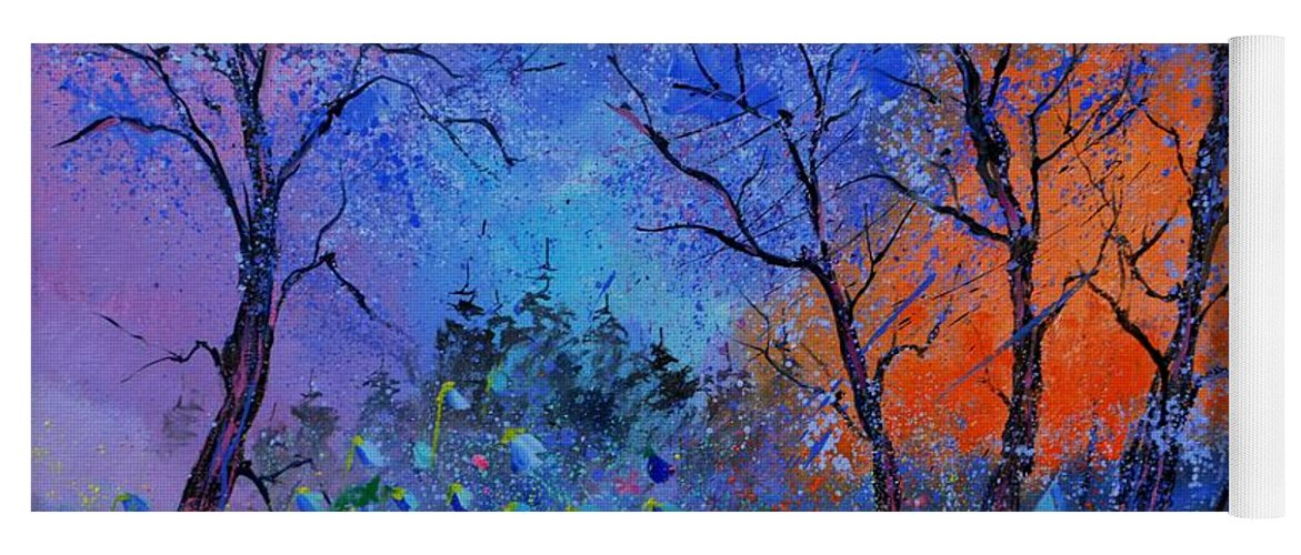 Landscape Yoga Mat featuring the painting Magic wood by Pol Ledent