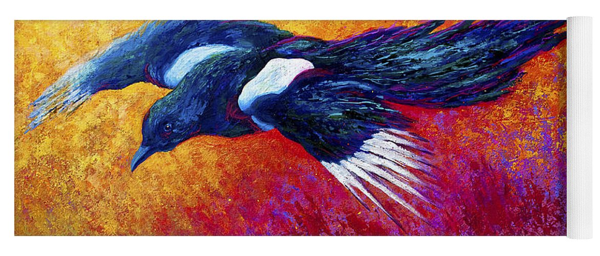 Wild Yoga Mat featuring the painting Magpie In Flight by Marion Rose