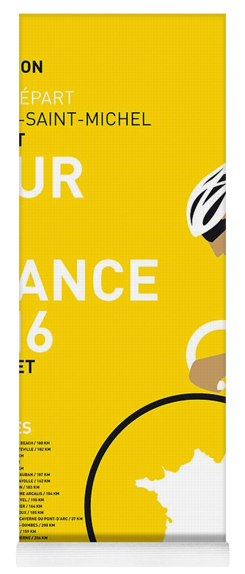 2016 Yoga Mat featuring the digital art My Tour De France Minimal Poster 2016 by Chungkong Art