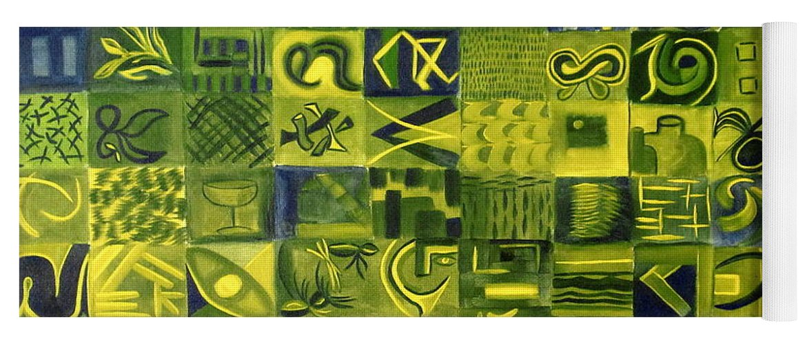 Green Yoga Mat featuring the painting Night On The Lawn by Patricia Cleasby