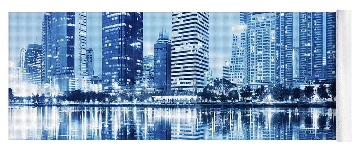 Architecture Yoga Mat featuring the photograph Night Scenes Of City by Setsiri Silapasuwanchai