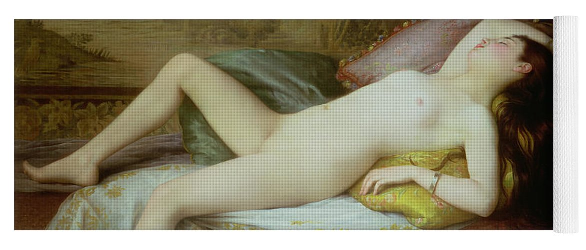 Nude Yoga Mat featuring the painting Nude Lying On A Chaise Longue by Gustave-Henri-Eugene Delhumeau
