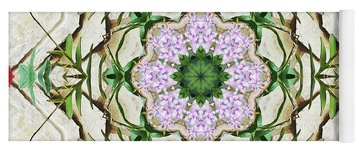 Orchid Yoga Mat featuring the photograph Orchids And Stone Wall Kaleidoscope 1764 by R V James
