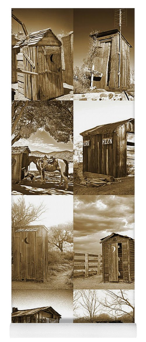Outhouses Yoga Mat featuring the photograph Outhouse Panel Vertical, Sepia by Don Schimmel