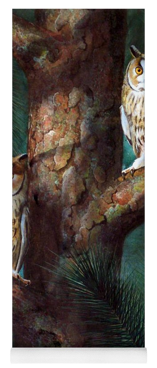 Wildlife Yoga Mat featuring the painting Owls In Moonlight by Frank Wilson
