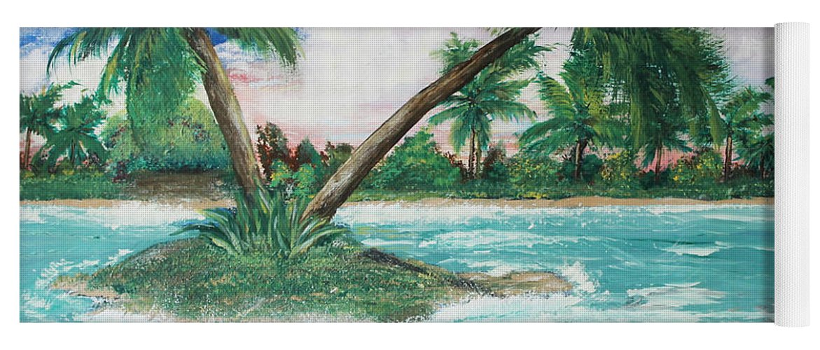 Island Yoga Mat featuring the painting Paradise Island by Debbie Levene