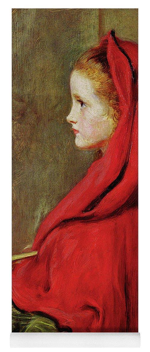 Millais Yoga Mat featuring the painting Red Riding Hood by John Everett Millais
