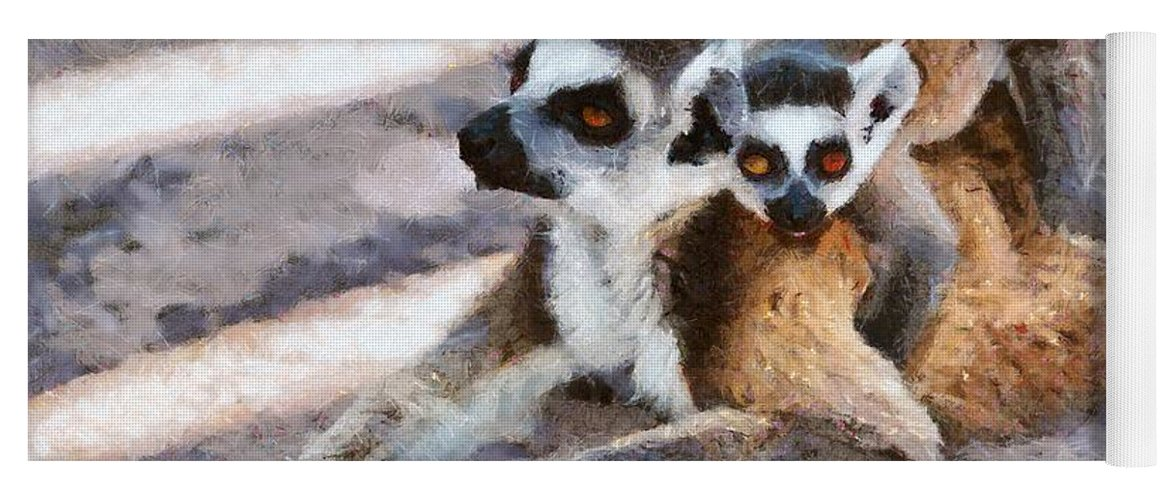 Ring Tailed Lemur Yoga Mat featuring the painting Ring Tailed Lemur With Baby by George Atsametakis