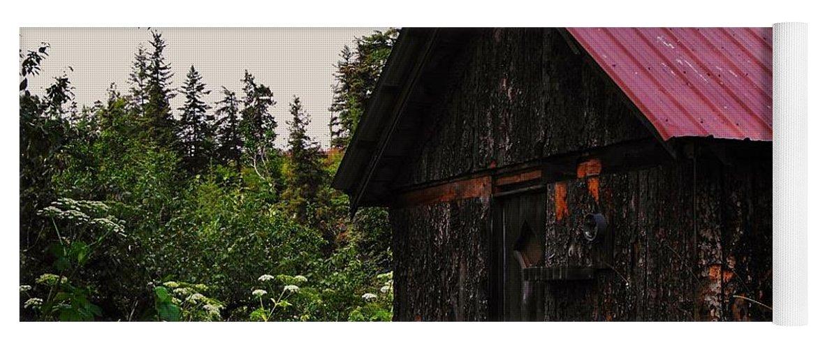 Homer Alaska Yoga Mat featuring the photograph Rustic Homestead by Lori Mahaffey