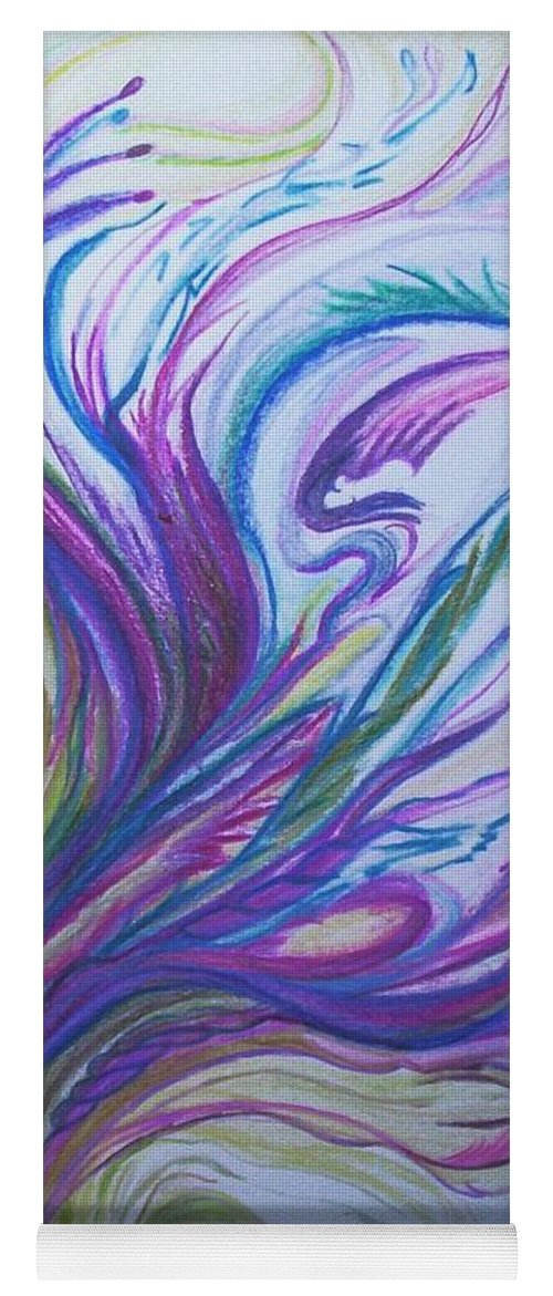 Abstract Yoga Mat featuring the painting Seaweedy by Suzanne Udell Levinger