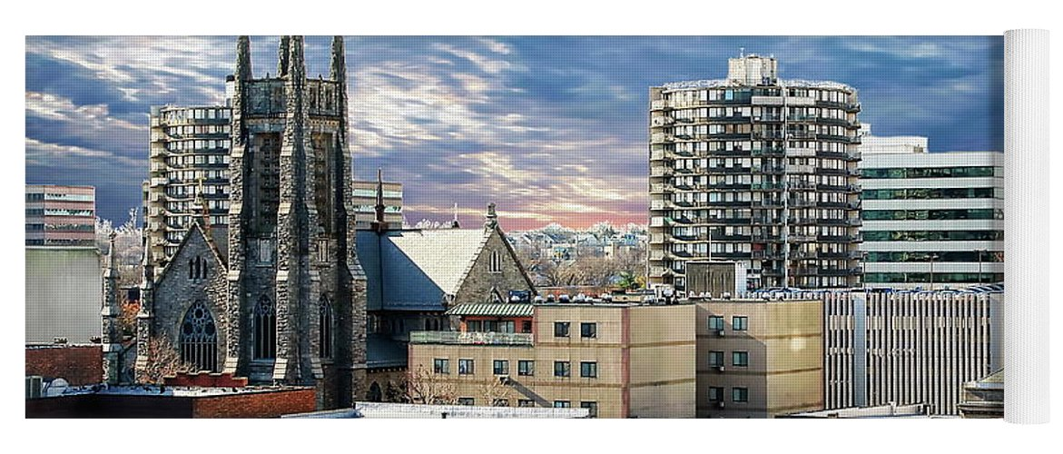 America Yoga Mat featuring the photograph Stamford Cityscape by Anthony Dezenzio