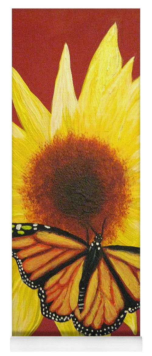 Sunflower Yoga Mat featuring the painting Sunflower Monarch by Debbie Levene