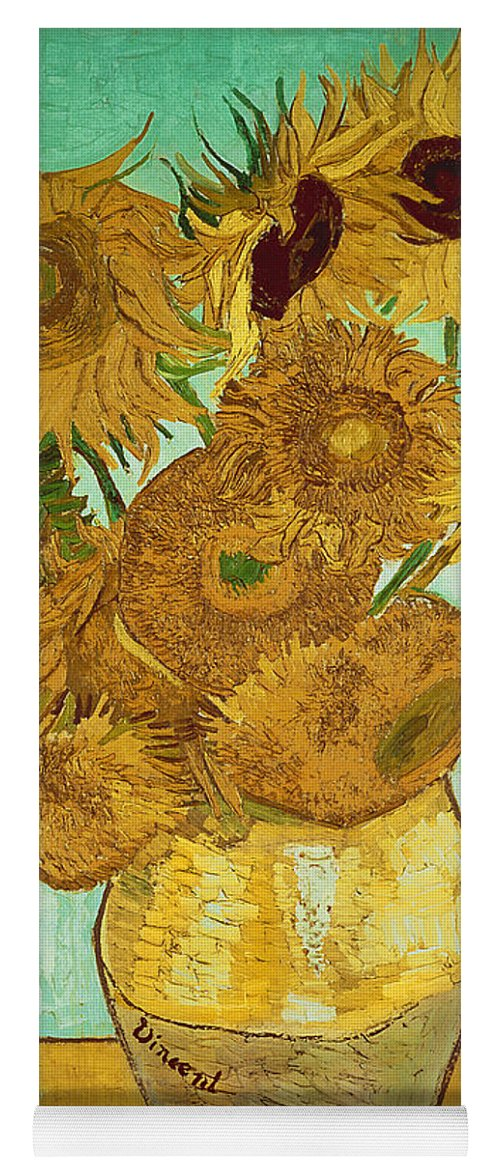 Sunflowers Yoga Mat featuring the painting Sunflowers by Van Gogh by Vincent Van Gogh