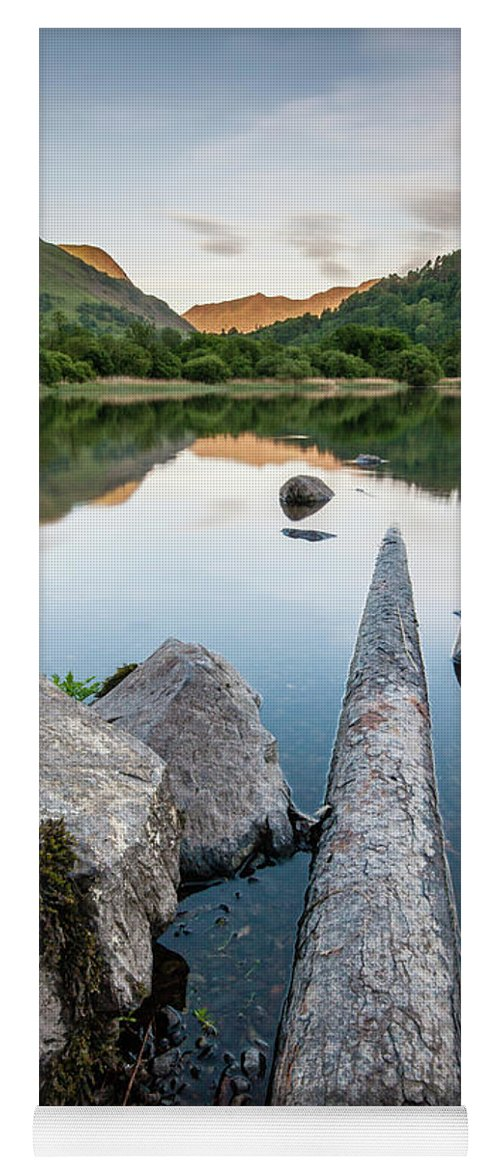 Landscape Yoga Mat featuring the photograph Sunrise at Ullswater, Lake District, North West England by Anthony Lawlor