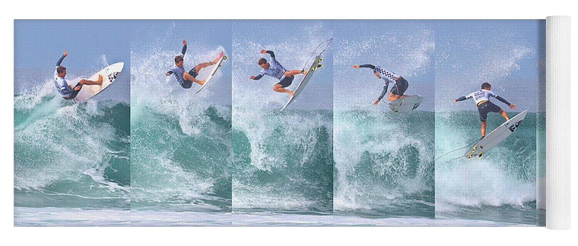 Surf Yoga Mat featuring the photograph Surfing Sequence by Brian Knott Photography
