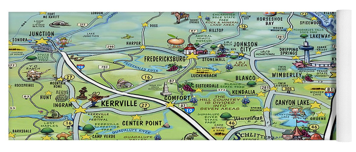 Texas Hill Country Cartoon Map Yoga Mat for Sale by Kevin Middleton